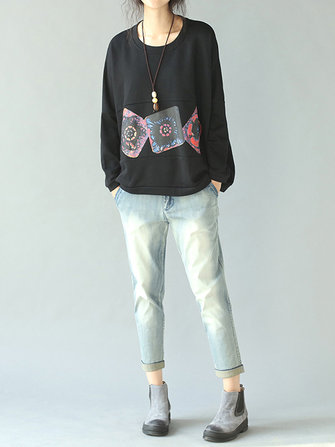 Casual Printing Black Bat Sleeve Loose Women Sweatshirt