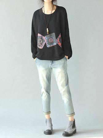 Casual Printing Black Bat Sleeve Loose Women Sweatshirt