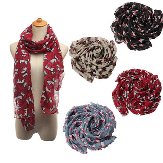Women Scarf Winter Warm Animal Cute Pug Puppy Dog Print Paris Yarn Shawl Wrap Pashmina