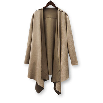 Mens Mid Long Irregular Hem Loose Solid Color Cardigan Coats