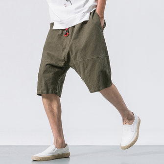 Men's Casual Loose Cotton Linen Knee Length Shorts Breathable Drawshring Baggy Shorts