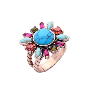 Retro Turquoise Flower Finger Ring Colorful Rhinestone Ring Jewelry For Women