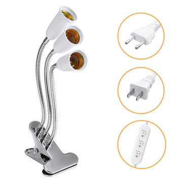 E27 Three Heads Bulb Adapter Lampholder Socket Clip With Switch for Grow Plant Light Bulb