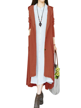 Women Vintage Buttons Long Sleeve Hooded Long Coat