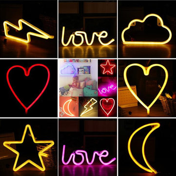 LED Colorful Night Light Battery Powered Neon Lamp Home Room Party Decor