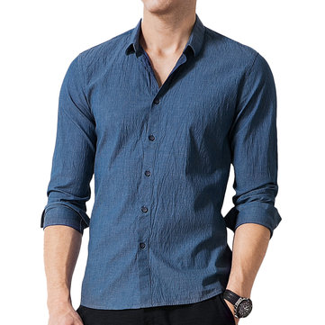 ChArmkpR Casual Business Comfy Cotton Navy Blue Lapel Shirts