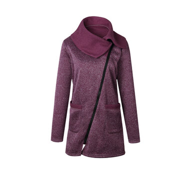 Casual Loose Women Zipper Turn-Down Collar Long Sleeve Coats