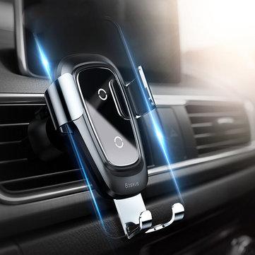 Original Baseus Metal Glass 10W Qi Cargador inalámbrico de carga rápida Air Vent Coche Soporte para teléfono para 4.0 Inch – 6.5 Inch Teléfono inteligente iPhone XS Max Samsung Galaxy S10 +