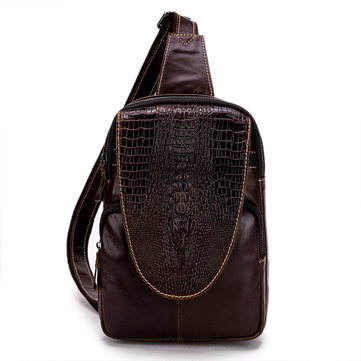 Men Genuine Leather Casual Chest Bag Crocodile Embossed Crossbody Shoulder Bag