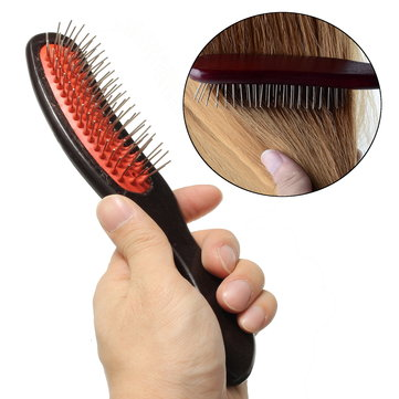 Wooden Handle Hair Comb Steel Teeth Brush Styling Hairdresser Barber Hair Training Head Model