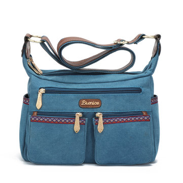 Brenice Women National Canvas Vintage Casual Multifunction Shoulder Crossbody Bag