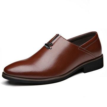 Men Comfortable Business Genuine Leather Slip On Formal Shoes