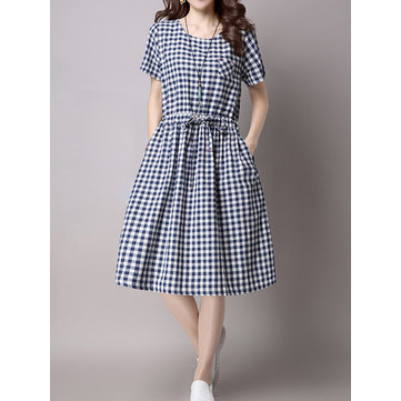 Vintage Women Short Sleeve Plaid Print Waist Slim Dresses