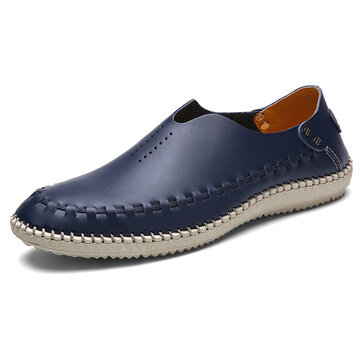 Men Comfy Soft Genuine Leather Flat Loafers