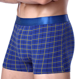 Mens Breathable Comfortable Cotton U Convex Grid Lattice Boxer Underwear
