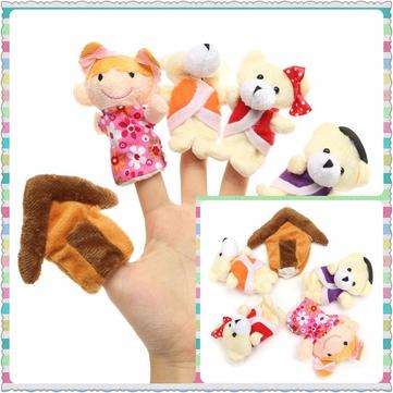 5Pcs Baby Kid Goldilocks Three Bears Animals Finger Puppets Cloth Plush Doll Hand Toy