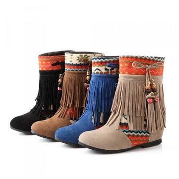 Signore di grandi dimensioni caviglia brevi stivali donna nappe scivolare gli stivali
