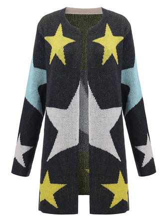 Casual Loose Star Pattern Printed V Neck Women Knit Long Cardigan