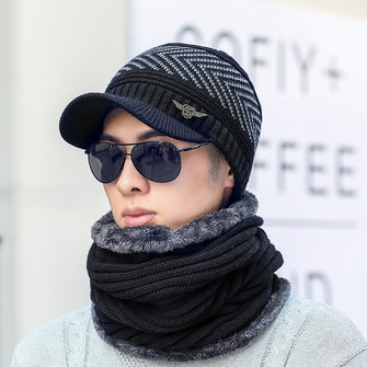 Winter Warmer Peaked Cap And Neck Collar Scarves Set For Men