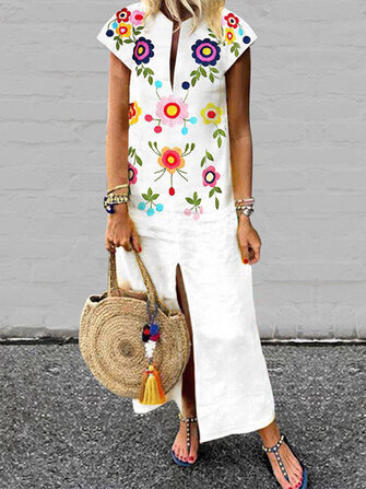 Women Bohemian Floral Print V-neck Short Sleeve Split Hem Dress