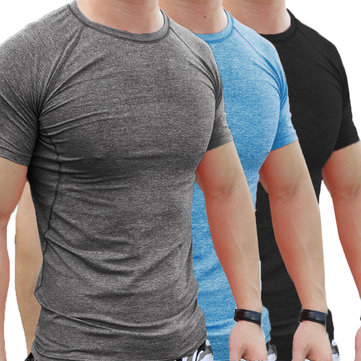 Summer Men Gym Muscle Short Sleeve Shirt Bodybuilding Sport Fitness Wear Tights T-shirt Tops Blouse
