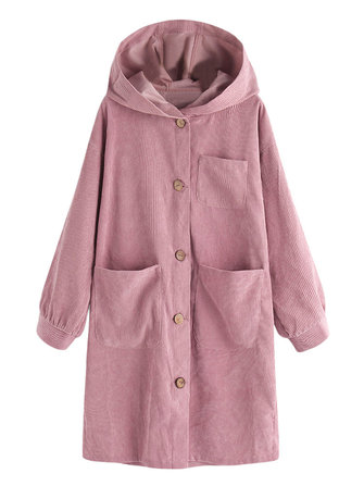 Women Solid Color Button Corduroy Hooded Trench Coats
