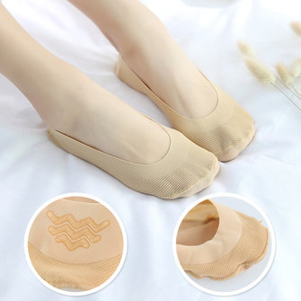 Women Summer Thin Breathable Boat Socks Seamless Invisible Silicone Antiskid Low Cut Hosiery