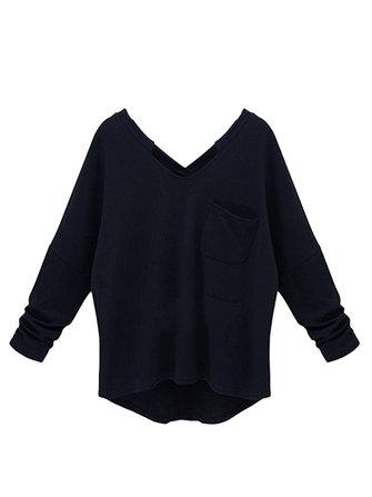 Plus Size Casual Loose Black Cashmere Long Sleeve V Neck Women T-Shirt