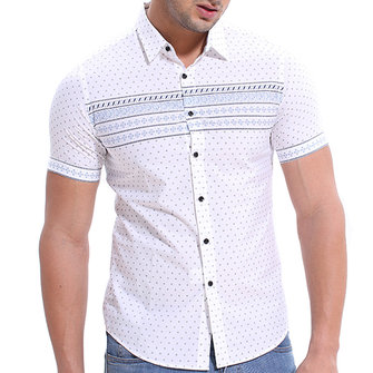 Dots Printing Summer Casual Stylish Lapel Shirts for Men
