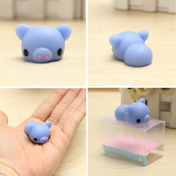 Blue Piggy Squishy Squeeze Pig Cute Healing Toy Kawaii Collection Stress Reliever Gift Decor