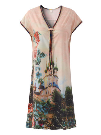 Floral Printed V-Neck Women Short Sleeve Mini Dresses