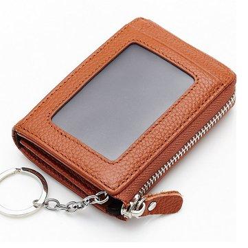 Женщины мужчины натуральная кожа короткие бумажник держатель молнии монета мешки карты ключевых сумки