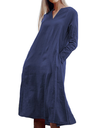 Women Long Sleeve V-neck Solid Swing Pocket Dress