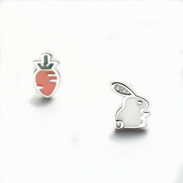 925 Sterling Silver Cute Asymmetric Rabbit Carrot Earrings