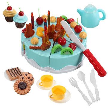 54PCS DIY Fruit Cake Knife Garnish Cutting Play Kitchen Food Kids Role Play Toy