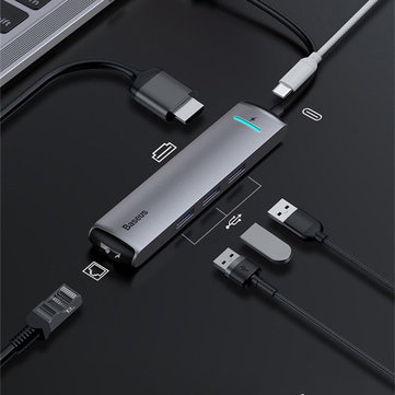 Baseus 6 in 1 Type-c to USB 3.0 PD Fast Charge Gigabit RJ45 4K Dispaly Adapter Hub Docking Station for Cell Phone Tablet