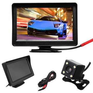 4.3 Inch TFT LCD Monitor 4 LED Wireless Car Parking Reverse Back Up Camera Kit CCD