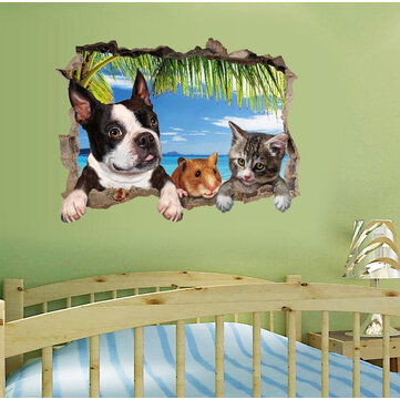 Honana 3D Animal Landscape Creative Wall Stickers Home Decor Mural Art Removable Wall Decals