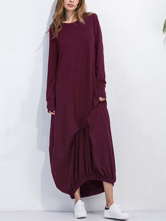 Leisure Ladies Solid Kaftan Round Neck Long Sleeves Dresses