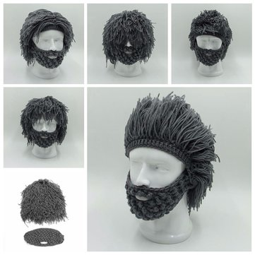 Unisex Periwig Beard Mask Warm Winter Hat Men Women Funny Party Knit Beanie Cap