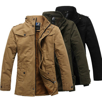 Mens Fashion Stand Collar Thick Warm Jacket Cotton Solid Color Korean Style Trench Coat