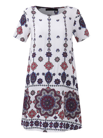 OEUVRE Women Printed O-neck Short Sleeve Mini Dress