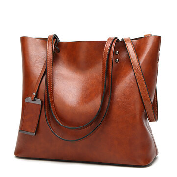 Women Oil Leather Tote Handbags Vintage Shoulder Bags