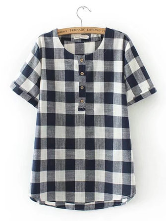 Women Fashion Plaid O-neck Short Sleeves Blouse