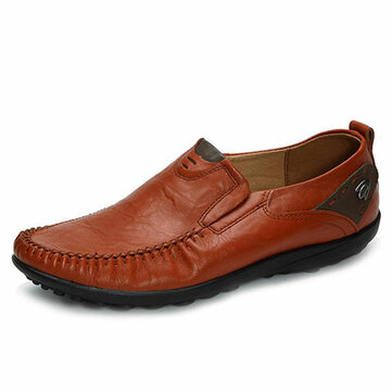 US Size 6.5-11 Men Genuine Leather Slip On Casual Business Shoes