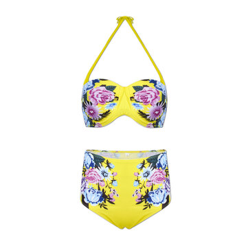 Women Sexy Spaghetti Halter Strap Floral Printed High-Waisted Push Up Bra Bikini Set
