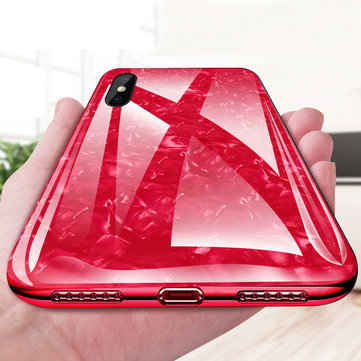 Bakeey Shell Pattern Glossy Glass Soft Edge Protective Case for iPhone X