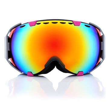 Motorcycle Professional Spherical Dual Red Lens Snowboard Ski Goggles Anti Fog UV Glasses