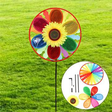 กังหันลม Sunflower กังหันลมสายรุ้ง Whirligig สวน ประดับสนามหญ้า