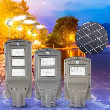 20W 40W 60W LED Solar Powered Outdoor Street Light PIR Motion Sensor Lamp